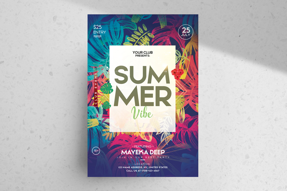 Tropical Summer – Free PSD Flyer Template
