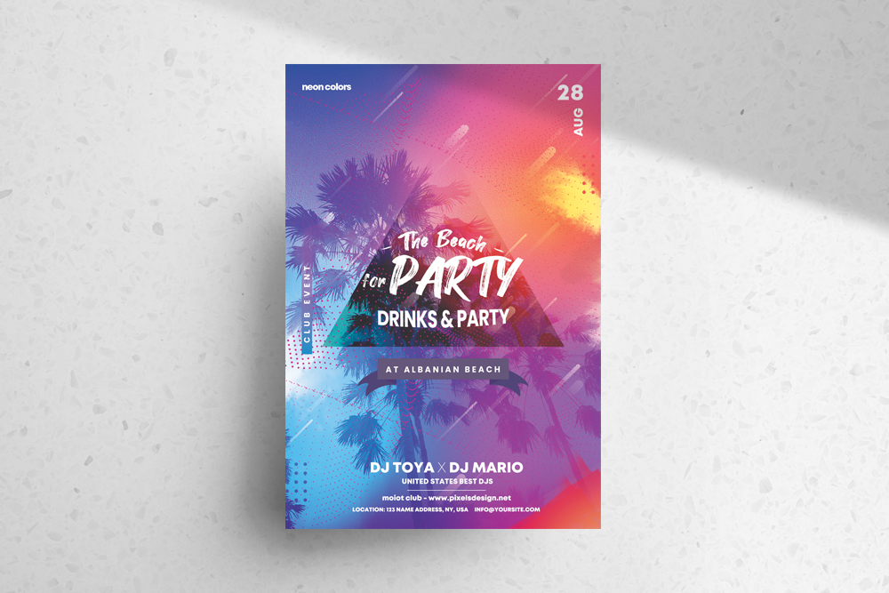 The Beach Party Free PSD Flyer Template