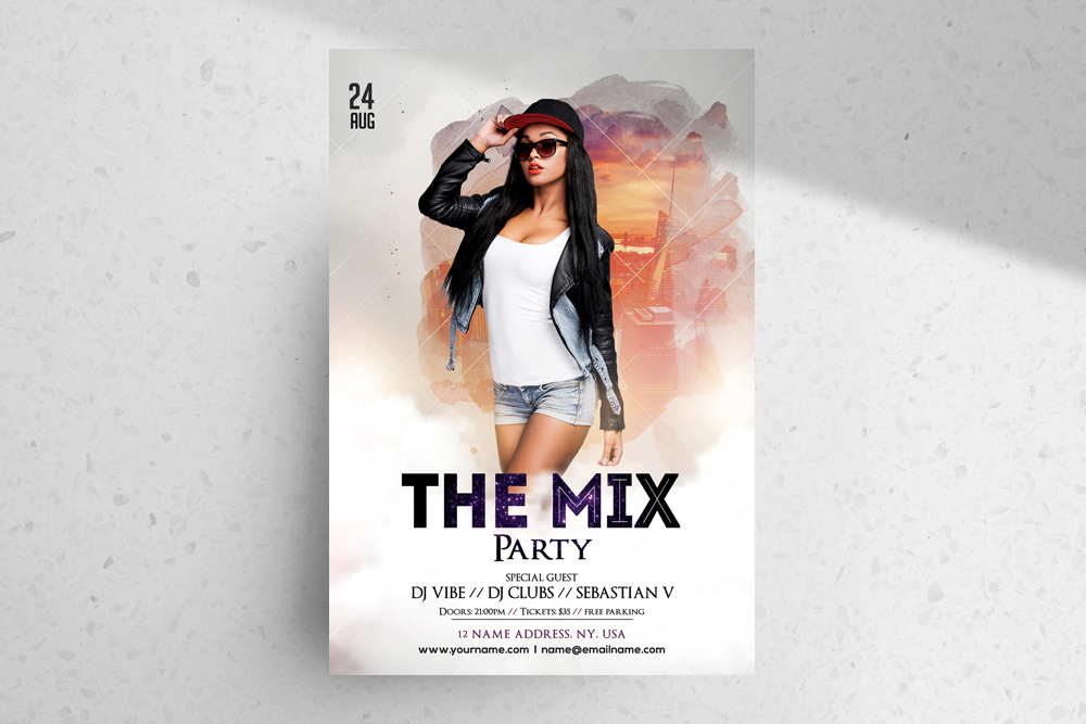 The Mix – Free White Party PSD Flyer Template