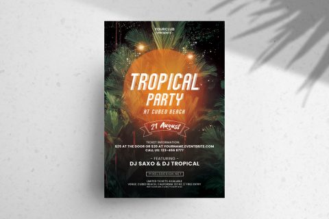 Tropical Party DJ Free PSD Flyer Template