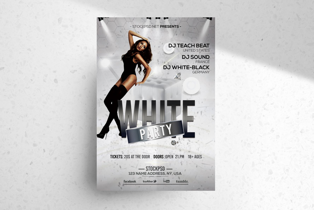White Party – Free Elegant PSD Photoshop Flyer Template