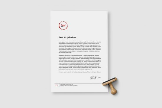 A4 Paper Sheet with Stamp Free Mockup