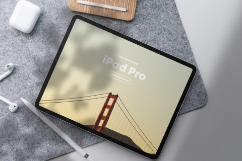 iPad Pro Top View Scene Free Mockup