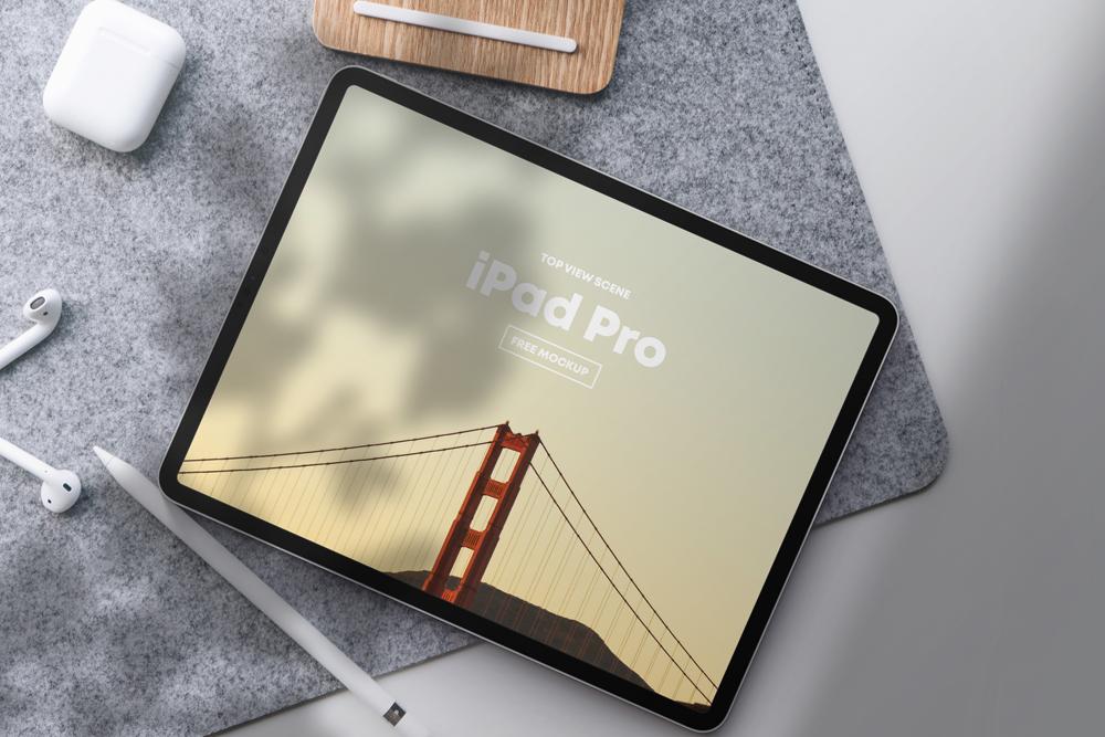 iPad Pro Top View Scene Free Mockup