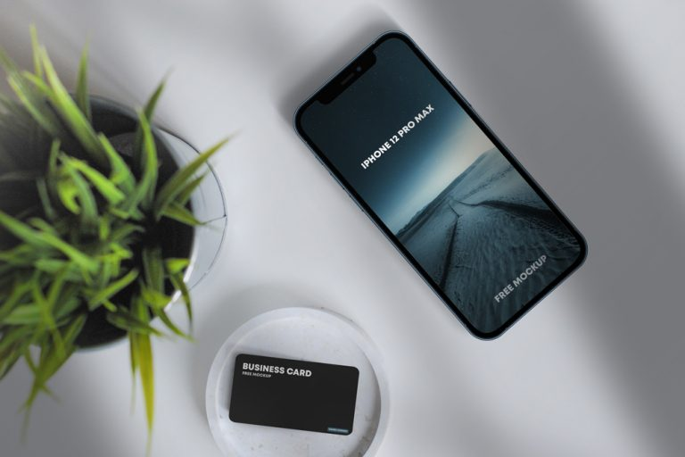 iPhone 12 Pro Max & Business Card Free Mockup