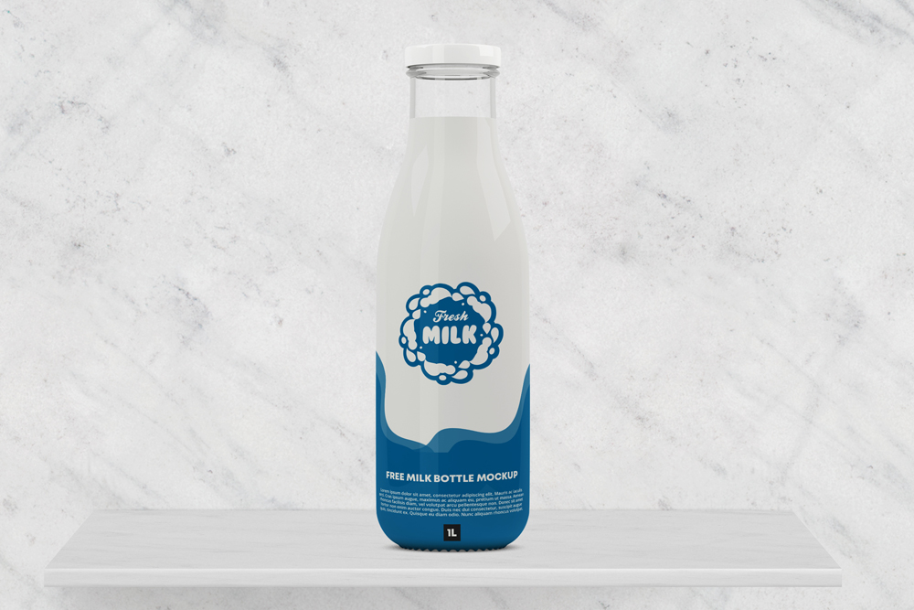 Milk Bottle Free Mockup