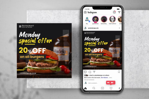 Burger Offer Free Instagram Banner Template (PSD)