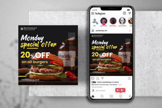 Burger Offer Free Instagram Banner Template (PSD)