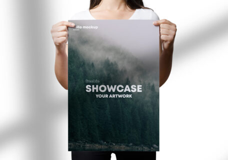 Holding A3 Flyer Free Mockup