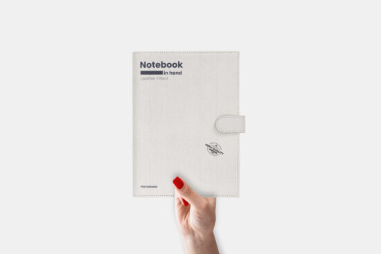 Leather Notebook in Hand Free Mockup