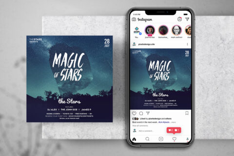Magic Stars Free Instagram Banner Template (PSD)