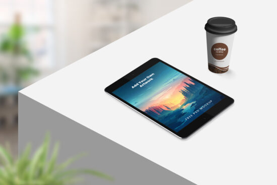 Tablet with Coffee Cup Free Mockup