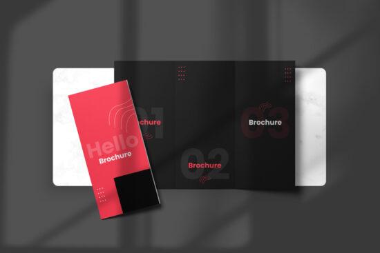 Top View Tri-Fold Brochure Free Mockup