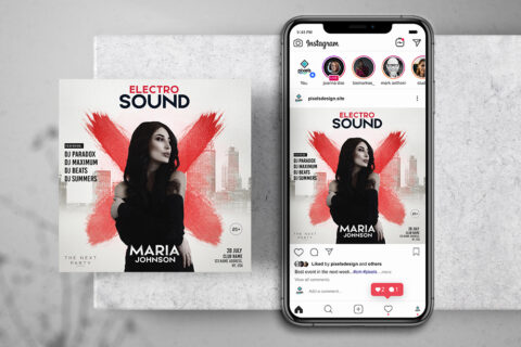 Electro Sound Free Instagram Banner Template (PSD)