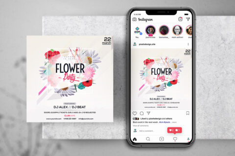 Flower Party Free Instagram Banner Template (PSD)