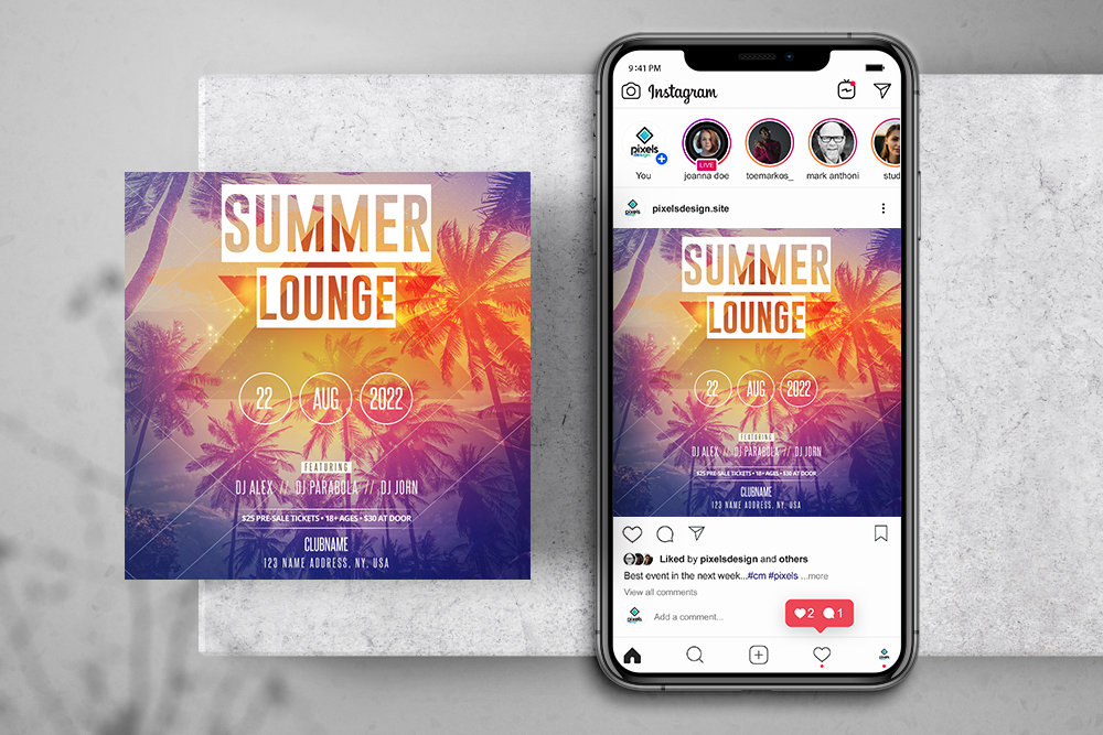 Summer Lounge Free Instagram Banner Template (PSD)