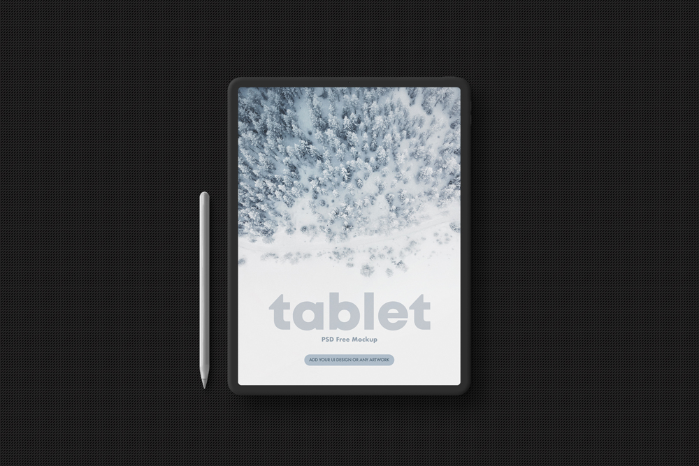 Tablet in Dark Style Free Mockup