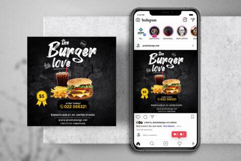 Burger Sales Free Instagram Banner Template (PSD)