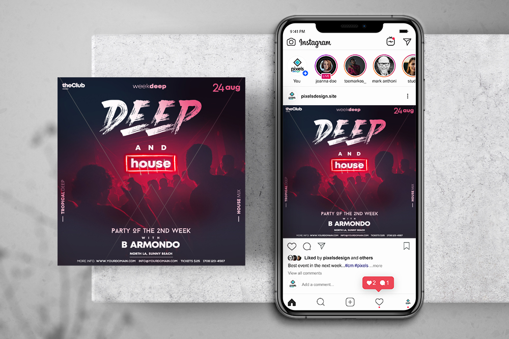 Deep and House Free Instagram Banner Template (PSD)