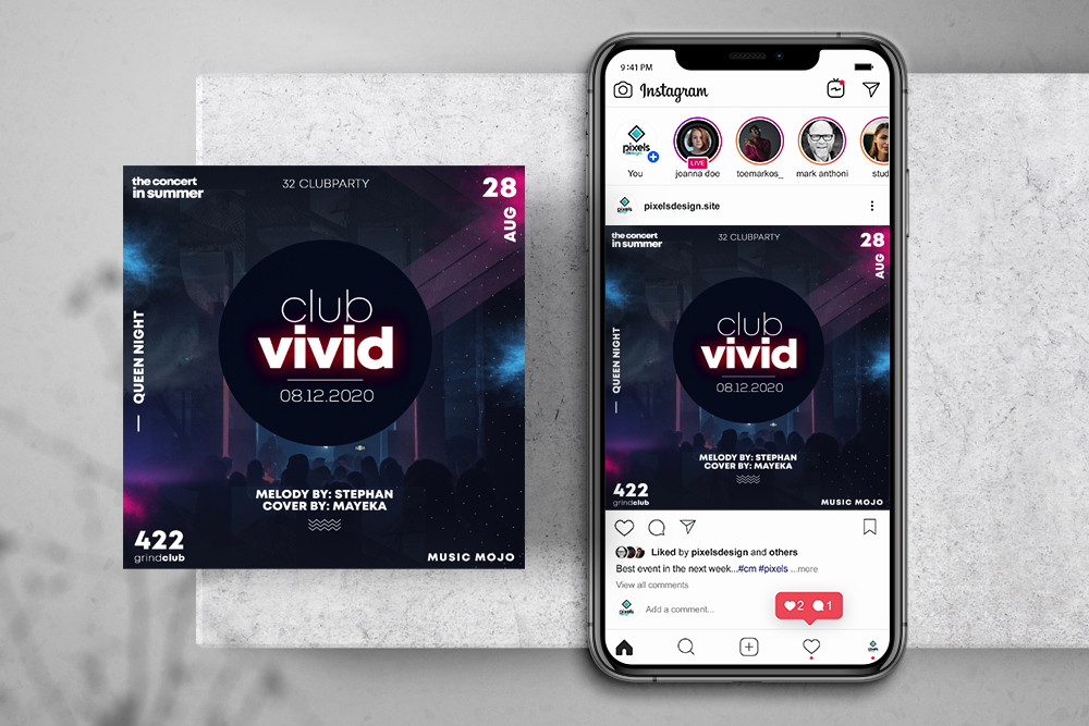 EDM Club Party Free Instagram Banner Template (PSD)