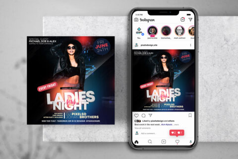 Ladies Vibe Party Free Instagram Banner Template (PSD)