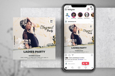 Ladies White Party Free Instagram Banner Template (PSD)