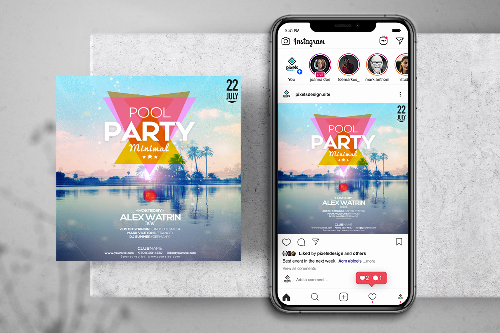 Pool Summer Party Free Instagram Banner Template (PSD)