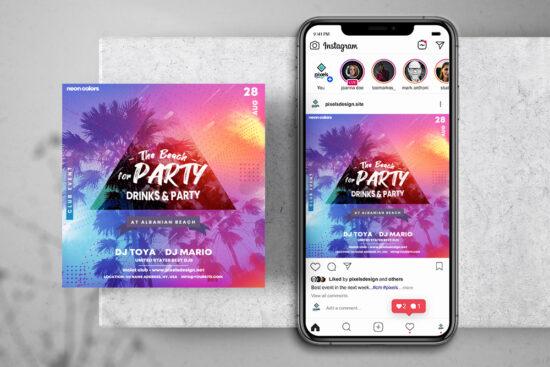 Summer DJ Party Free Instagram Banner Template (PSD)