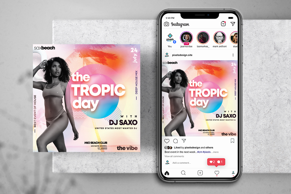 Summer Tropical Party Free Instagram Banner Template (PSD)