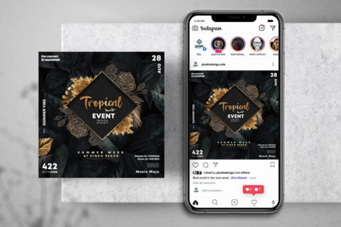 Tropical Invitation Free Instagram Banner Template (PSD)