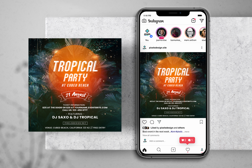 Tropical Vibes Free Instagram Banner Template (PSD)