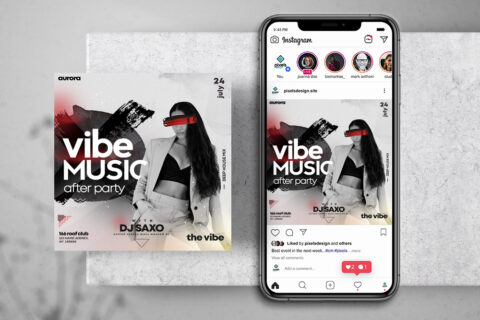 Vibe Music Party Free Instagram Banner Template (PSD)