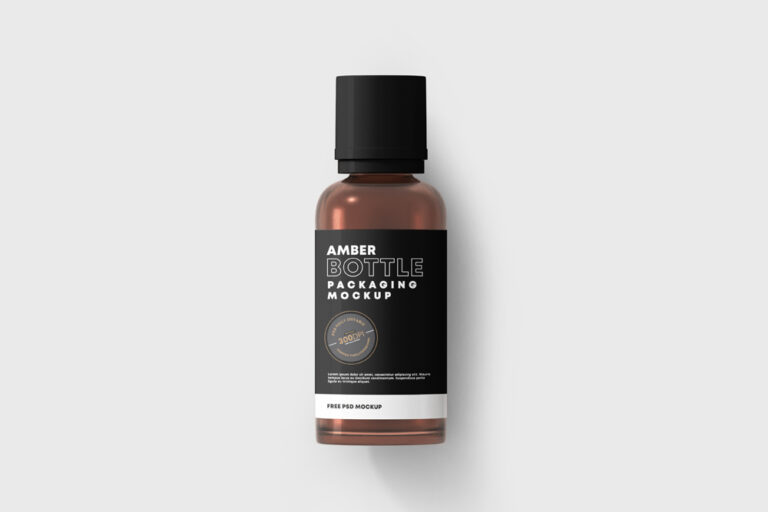 Amber Bottle Free Mockup