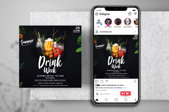 Drink Week Event Free Instagram Banner Template (PSD)