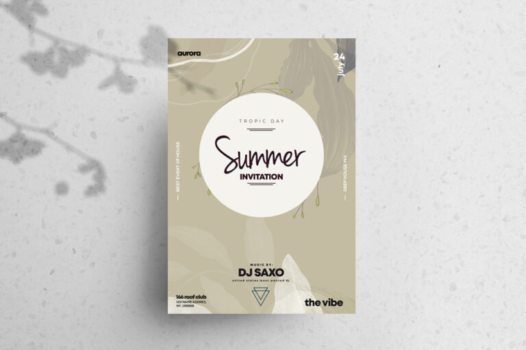 Summer Invitation Free PSD Flyer Template