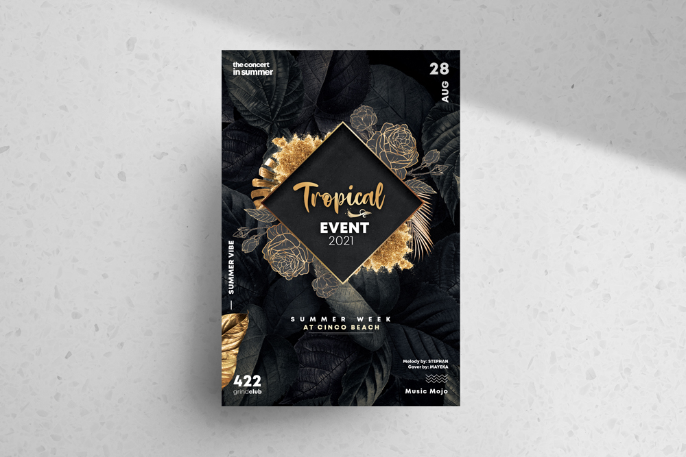 Elegant Tropical Event Free PSD Flyer Template