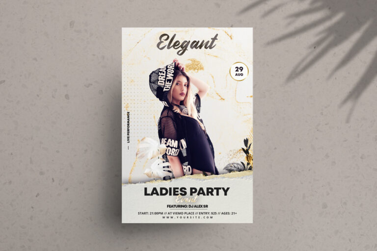White & Gold Elegant Free PSD Flyer Template