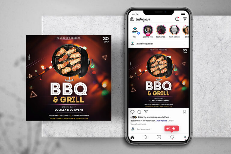 BBQ & Grill Event Free Instagram Banner Template (PSD)