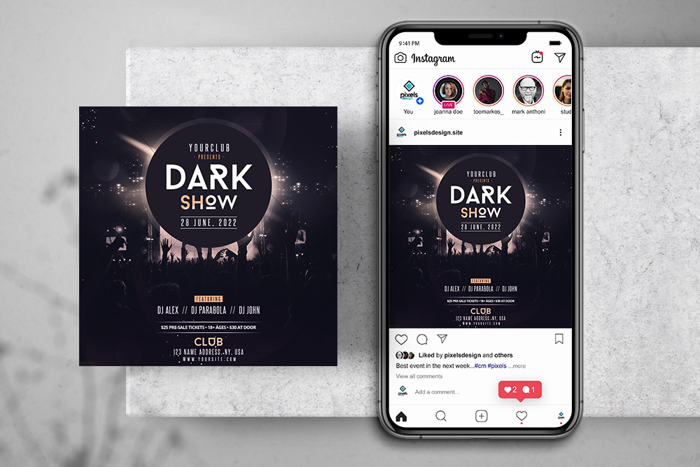 Concert Party Free Instagram Banner Template (PSD)