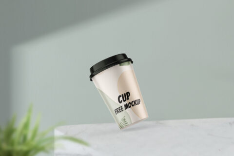 Gravity Coffee Cup Free Mockup