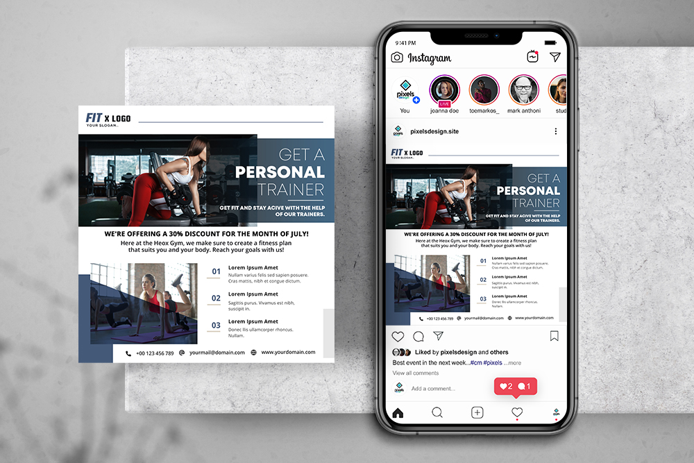 Gym Fitness Free Instagram Banner Template (PSD)