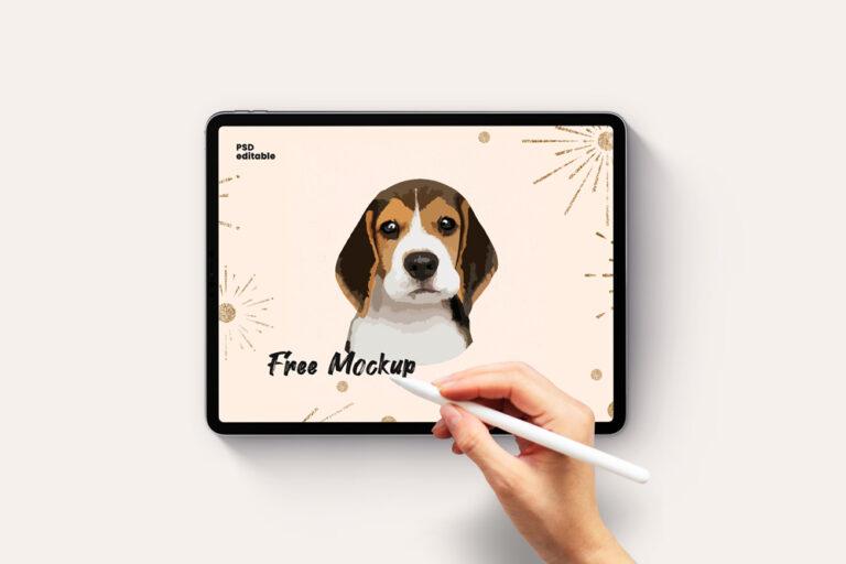 iPad Pro with Hand Pencil Free Mockup