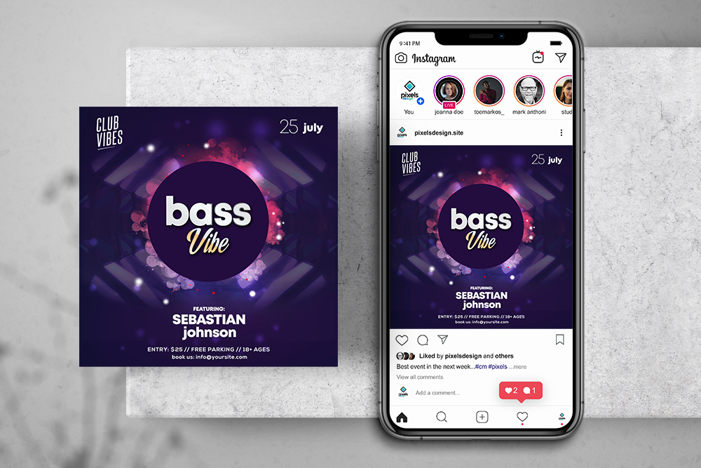 Music Party Ad Free Instagram Banner Template (PSD)