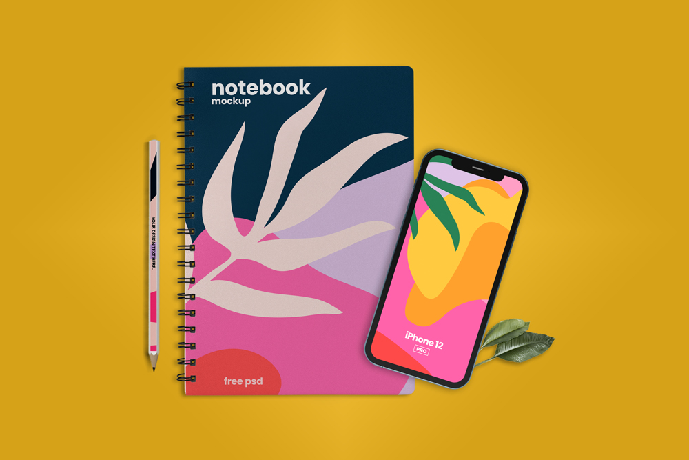 Notebook with iPhone 12 Scene Free Mockup