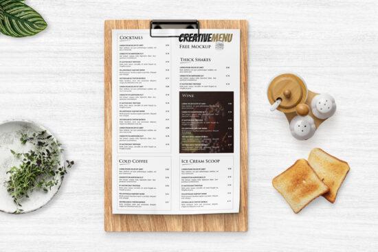 Restaurant Menu Clipboard Free Mockup
