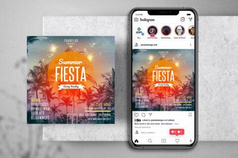 Summer Fiesta Free Instagram Banner Template (PSD)