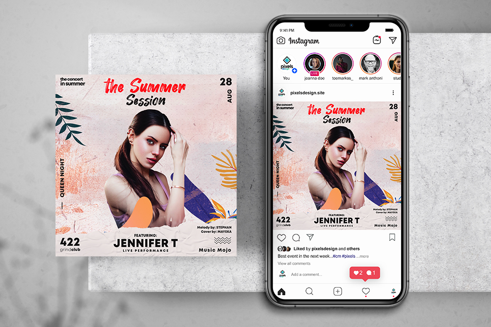 Summer Session Free Instagram Banner Template (PSD)