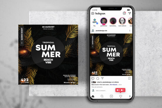 Tropical Gold Free Instagram Banner Template (PSD)