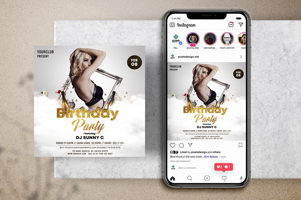White Birthday Party Free Instagram Banner Template (PSD)