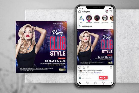 Club Styje DJ Free Instagram Banner Template (PSD)